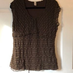 Brown stretchy lace sleeveless top